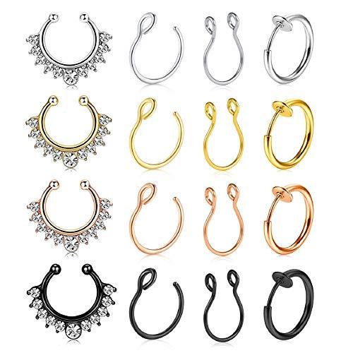 JFORYOU Fake Nose Rings 16PCS Stainless Steel Faux Nose Piercing Jewelry Fake Nose Hoop Ring Spring Clip on Circle Hoop No Pierced Septum Nose Ring Women Men