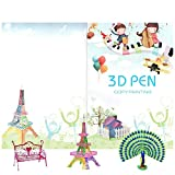 3D Pen Paper Stencils,Updated 20 Sheets 40 Patterns with Clear Plate Set-Printer Drawing Basic Template Printing Book Painting Graffiti Template for 3D Pen Kids DIY Gift Present