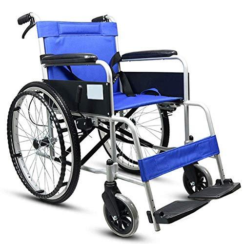 LIANGANAN Silla de rehabilitación médica, Silla de ruedas, Manual de aleación de aluminio silla de ruedas, Asiento de ancianos discapacitados con silla de ruedas de la carretilla inflable gratuito