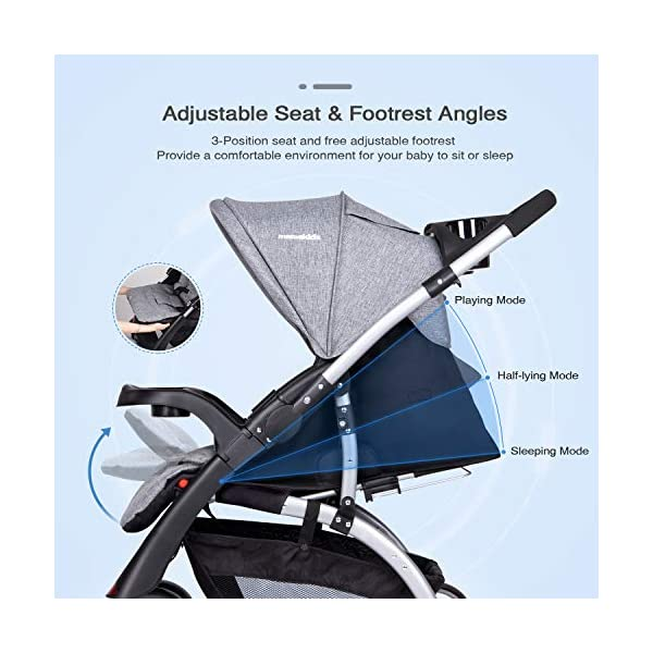 Baby Stroller Travel Pushchair, One-Hand Folding Pushchair for Newborn Infant Toddler with Reclining Seat and Reversible Handle, Easy to Transport and Storage, Great for Airplane (Grey) N-O 【Safe and Comfortable】: All- steel frame and anti- shock wheels with brakes. - 3-Point harness with soft shoulder pads for comfort and assurance that the child remains in position and does not lean out. Washable and breathable fabric can have optimum air flow for baby. Large sunshade can give your baby a sweet sleep. 【Reversible handle and storage basket】: When you take your baby out alone, keep your baby in your eyes more directly, ensuring maximum safety. Storage baskets in all locations allow you to store all your baby's necessities. 【Peek-a-boo window】: This ingenious design for parents. You can have make eye contact with baby at ant time, and watch baby's activity. 7