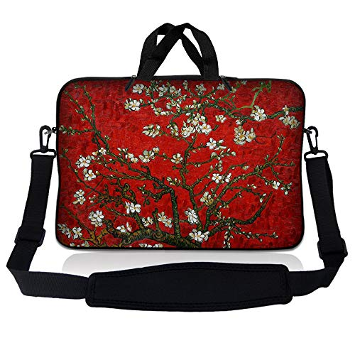 LSS 10 10.2 inch Laptop Sleeve Bag Compatible with Acer, Asus, Dell, HP, Sony, MacBook and More   Carrying Case Pouch w/Handle & Adjustable Shoulder Strap, Red Almond Trees