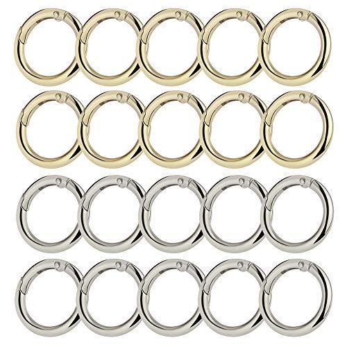 Sweieoni Karabiner Ring 20 Stück Runde Karabinerhaken Frühling O Ring Karabinerhaken Snap Schlüsselanhänger Karabinerhaken Schlüsselringe Silber und Gold für DIY Handwerk Machen