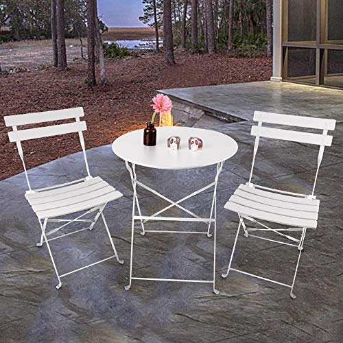 INOVIX Grand Patio Bistro Set Outdoor Metal Patio Bistro Set Foldable Patio Table and Chairs 6 Colors (White)