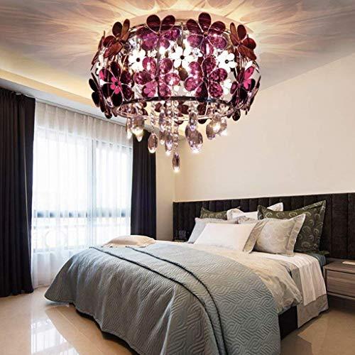 WHKHY Kristall Luxus Deckenleuchte Lampe Gemeinschaften Schlafzimmer Lobby Kristallleuchter 40Cm * H 35 cm,Lila