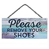 California Seashell Company Please Remove Your Shoes Striped Rope Sign