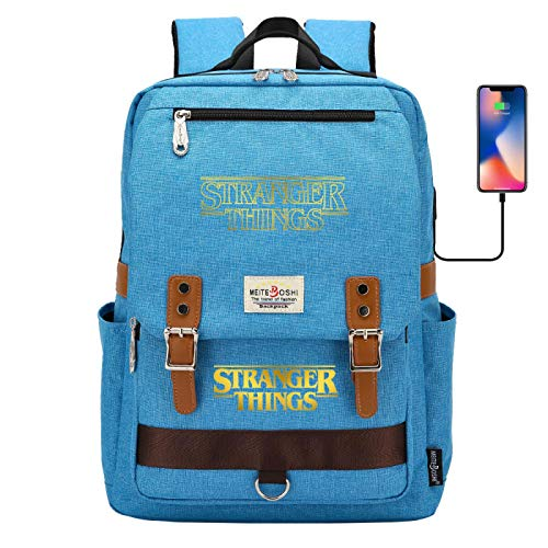 Leisure Backpack Boy's 15 inch Laptop Backpack with USB Charging Port Travel Student Backpack Large Blue