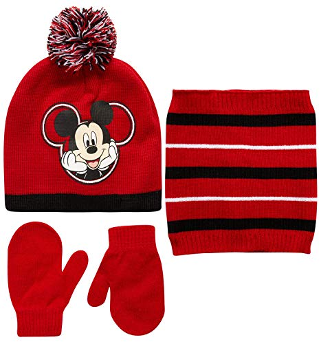 Disney Boys' Mickey Mouse Winter Hat, Mittens or Gloves, and Gaiter Scarf 3 Piece Set (Toddler/Little Boys) Red/Black/White Mickey Mittens, Age-2T-4T