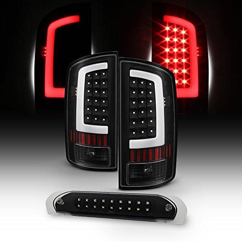 For 03-06 Dodge Ram 1500 2500 3500 LED DRL Light Tube Black Tail Light + 3rd Brake Lamp Assembly