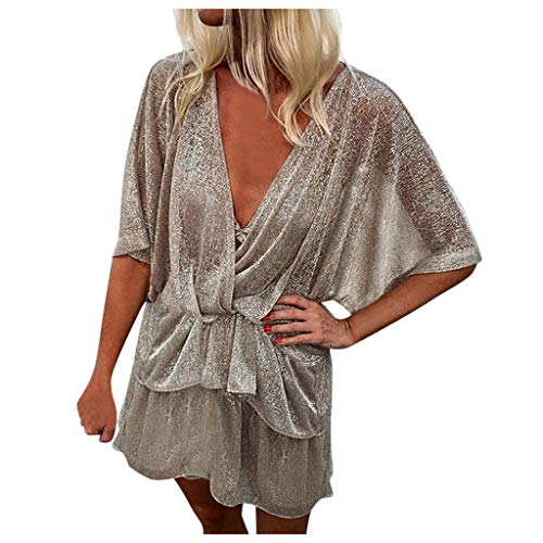 Best Deals! Witspace Womens Deep V-Neck Half Batwing Sleeve Sequin Wrap Mini Dress Summer Party Loos...