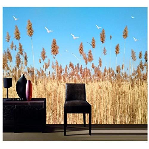 Pbbzl op maat behang 3D Scandinavische eenvoudige bloemen en planten riet landschap vers nachtkastje muur hoge kwaliteit waterdicht materiaal 250x175cm