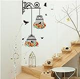 Pájaros en una jaula decoración de la etiqueta engomada de la pared en la pared Etiqueta de la pared decoración extraíble