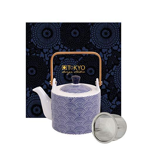 TOKYO design studio Nippon Blue Tee-Kanne blau-weiß, 0,8 Liter, asiatisches Porzellan, Japanisches Design, inkl. Geschenkverpackung
