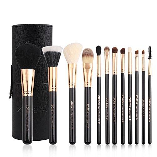 CHENG Ensemble De Brosse De Maquillage Premium Voyage 12 Pcs Essentiels Outils Cosmétiques Synthétiques Cheveux Avec Boîte Pour Les Meilleurs Cadeaux,Black