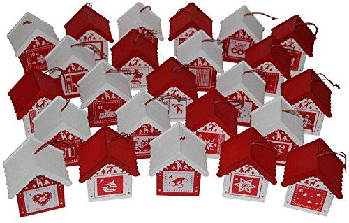 LD Calendario de Adviento decorativo de Navidad de pueblo de madera con...