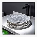 Lavabo sobre Encimera Redondo Cristal 400mm Fregadero,lavamanos sobre Encimera Artístico Creativo con Anillo De Montaje para Grifo Y Juego De Drenaje De Agua(Color:Lavabo de Arte Blanco Plateado)