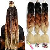 Showjarlly Kanekalon pre estiró el trenzado del cabello Ombre Jumbo Braid Extensión del cabello Fibra de alta temperatura 3 unids/lote 100 g/pc Para Crochet Twist trenzar el pelo