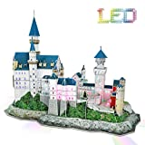 3d Puzzle LED Neuschwanstein Castle Germany Architecture Model Kits 3D Puzzles for Adults Christmas Gifts for 10 Year Old Girl Boy Birthday Gifts for Friends Women Men Building Puzzles, 128 Pieces