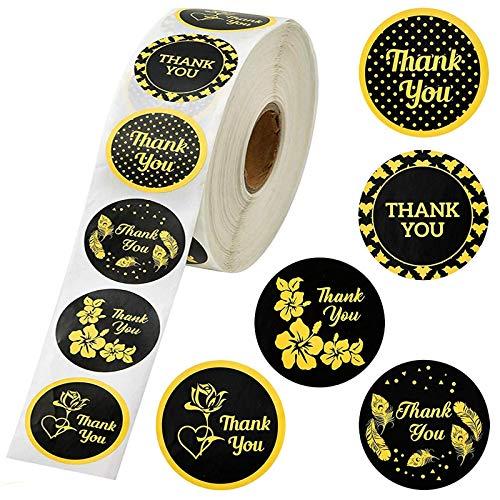 YRSM 500 unids/Rollo de Flores Doradas Gracias Pegatina Pastel para Hornear Sello Adhesivo decoración de Regalo Etiqueta Adhesiva