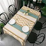 Mantel Bordado con Patchwork de Chenilla Jacquard Cubierta de Mesa de Comedor, Buena Textura, Color Limpio, decoración del hogar 140x240cm Amarillo