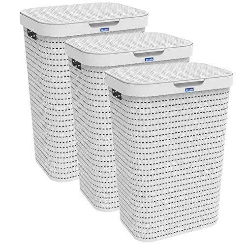 Rotho Country 3er-Set Wäschesammler 55l mit Deckel, Kunststoff (PP) BPA-frei, Weiss, 3x55l (42,0 x 32,2 x 57,7 cm), 42 x 32