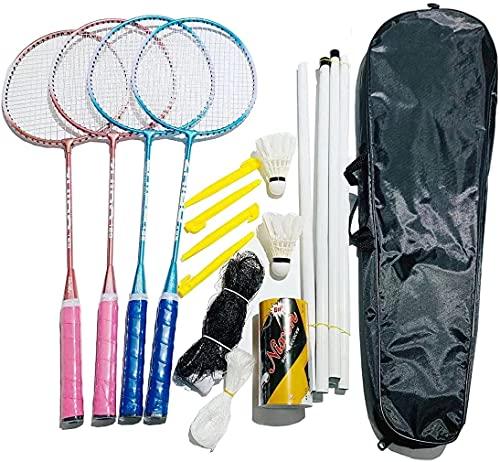 Nincee Ensemble de 4 Raquettes de Badminton, Ensemble de qualité 20 pièces d'ensemble de Badminton extérieur, Ensembles de Jeux Amusants pour la pelouse ou la Plage pour Toute la Famille