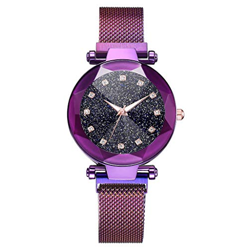 MIS1950s Women Watches Rose Gold Romantic Starry Sky Dial Wrist Watch - Ladies Magnetic Clock Girl Luxury Convex Glass Quartz Mesh Belt Wristwatches (B-Purple)