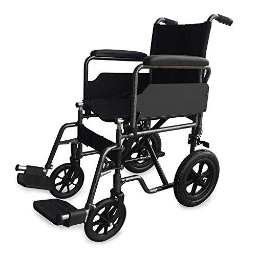 Mobiclini, Modell S230, Rollstuhl für ältere und behinderte Menschen, Premium Faltrollstuhl, Transferrollstuhl, Leichtgewicht, mit Fußstützen und abnehmbaren Armlehnen, Stahl, Sitzbreite 40 cm