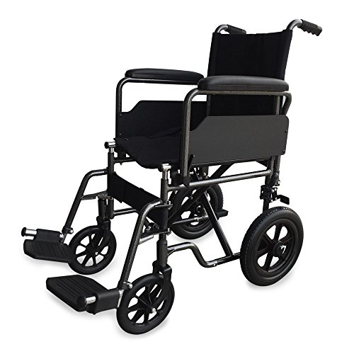 Mobiclinic, Modelo S230, Silla de ruedas para minusválidos y ancianos, de tránsito, plegable, ortopédica, reposapiés, reposabrazos, negro, asiento 40 cm