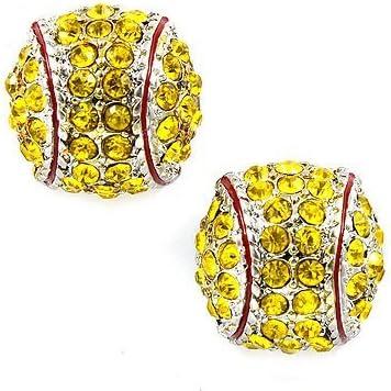 Kenz Laurenz Softball Earrings Fashionable Studs Colorado Springs Mall Rhinestone Crystal - S Post