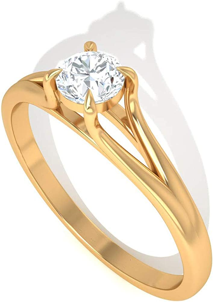 0.5 Ct IDCL Certified Moissanite Solitaire Ring, DEF-VS1 Color Clarity Gemstone Wedding Ring, Classic Bridal Promise Ring, Statement Gold Women Ring, 14K Gold