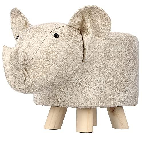 KADAX Kinder-Sitzkissen, Kinder Hocker, Kinderstuhl, Kinderzimmer Möbel, Tierhocker, Dekohocker mit Plüschbezug, Tiermotiv Hocker, Sitzsack (Elefant)