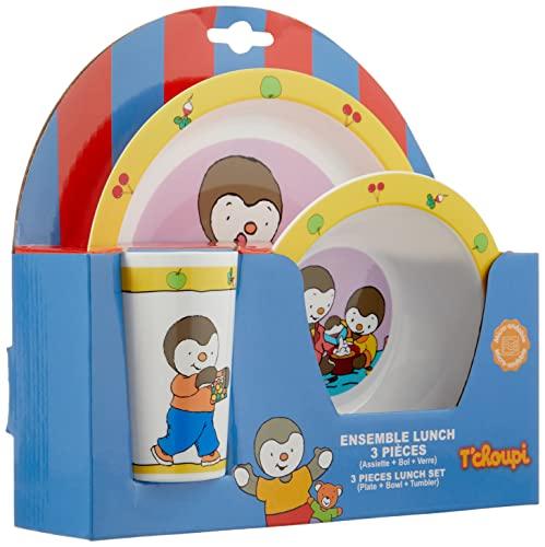 FUN HOUSE 005138 T'Choupi Ensemble repas pour enfant : 1 Verre + 1 Assiette + 1 Bol Micro-ondable 250 ML