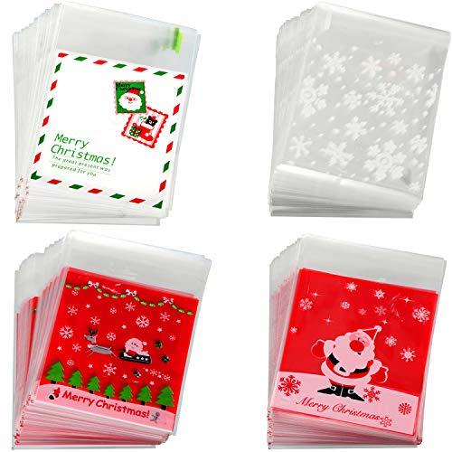 400 Pezzi Natale Caramelle Sacchetti di Cellophane Trattare Sacchetti Autoadesive Sacchetti Biscotto per Forniture Festa a Tema Natale, 4 Stili