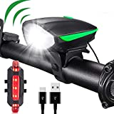 LED de luz de la Bicicleta Frente de la Bicicleta de Hornos y LED luz Trasera Juego de Luces de Bicicleta Cuerno de la Bicicleta Delantera y luz Trasera Set 3 Modos de iluminación 2 Cuerno Recargable