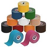 ALPIDEX Cinta Kinesiología Tape 5 m x 5 cm Cinta Muscular E- Book Ejemplos Aplicación, Color:colores surtido, Cantidad:12 rollos