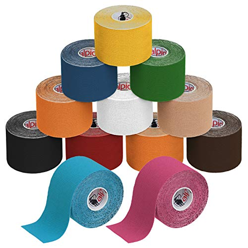 BB Sport 12 Rollos Cinta Kinesiología Tape 5 m x 5 cm Cinta Muscular E- Book Ejemplos Aplicación, Color:colores surtido