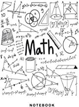 Math Notebook: Graph Paper, 4 x 4 Quad and White Paper