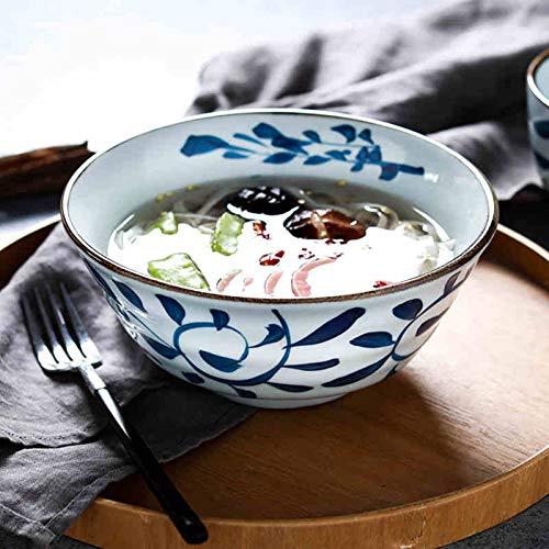 MAHFEI Cerámico Cuenco para Sopa Creativo Aperitivos Tazones De Ensalada Patron Dibujado A Mano Pasta Tazones De Sopa Bol De Arroz para Pasta, Soba, Cereal (Color : Blue, Size : 18.5x8.5cm)