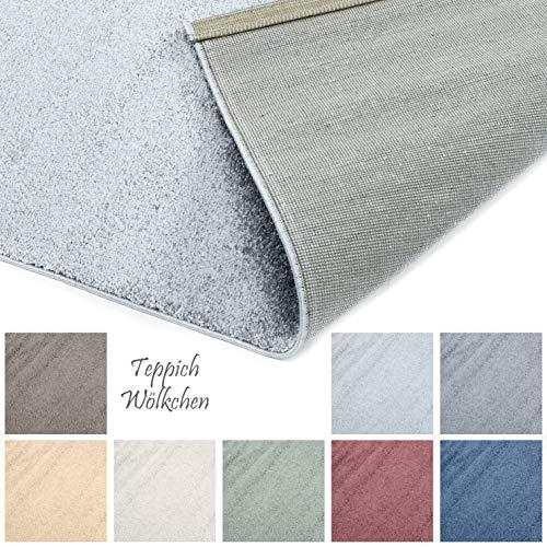 Designer-Teppich Pastell Kollektion | Flauschige Flachflor Teppiche fürs Wohnzimmer, Esszimmer, Schlafzimmer oder Kinderzimmer | Einfarbig, Schadstoffgeprüft (Grau, 250 x 250 cm)