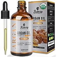 Kanzy Aceite de Argan Puro de Marruecos 100% Bio Morrocan Oil Rico en vitamina E y Antioxidantes, Argan Oil para Cabello, barba, Piel, Cuerpo y las Uñas en Botella de Vidrio 100ml