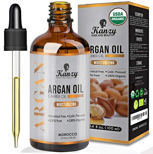 Kanzy Huile d'Argan Bio Pour Cheveux, Peau, Corps, Ongles 100% Pure Moroccan Pressée à Froid Argan Oil en Bouteille Verre, Anti-âge Antirides Peau et Des Cheveux Brillants 100ml