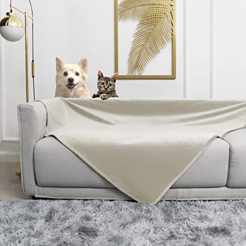 """fuguitex Waterproof Dog Blanket for Bed Fleece Pet Blanket Bed Cover for Dog Throw Blanket for Couch Sofa(5282"""",Cream+Beige"""
