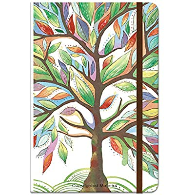 "Journal/Ruled Notebook - Hardcover Ruled Journal with Premium Thick Paper, 5.5"" x 8.4"", Back Pocket + Bookmark + Round Corner Paper + Banded - Watercolor Tree"