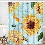 Huryfox Sunflower Duschvorhang-Set mit 12 Haken Badezimmer Dekor Gardinen, Wasserdicht Badvorhang für Badewanne (Sonnenblume, 183 x 183 cm)