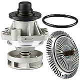 TOPAZ 11527505302 Radiator Cooling Fan Clutch with 11517527799 Water Pump for BMW E46 E36 E39 E38 E34 Z3
