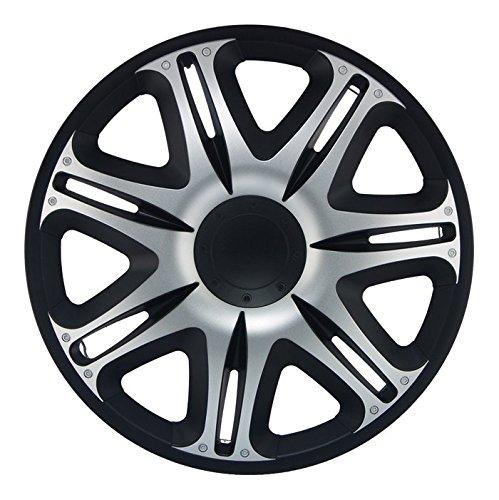 CM DESIGN 14 Zoll Nascar Silber schwarz Radkappen Radzierblenden Radblenden für Fast jeden Fahrzeugtyp