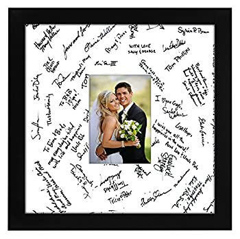 Americanflat 14x14 Black Wedding Signature Picture Frame Displays 5x7 Photo with Polished Glass