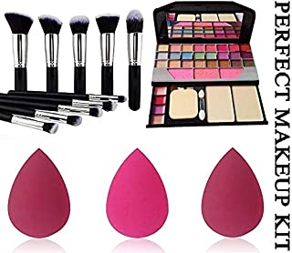 BTN Professional Makeup Kit with TYA 6155 with face makeup brush 10 pcs set different type/size and three pcs beauty blind...