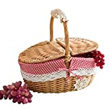Home Garden Outdoors Picnic Baskets Outdoor Picnic Basket Rattan Bread Basket with Lid And Handle & Liners for Picnics BBQs Rural <span class='highlight'>Style</span> Wicker Picnic Basket Hamper Picnic Baskets Hampers