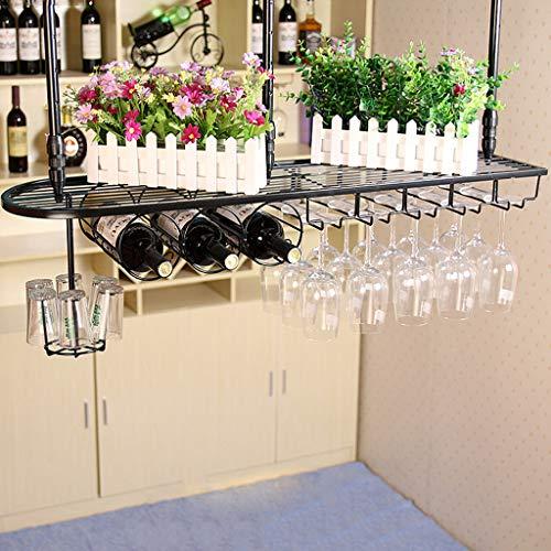 Global- portabottiglie da Parete in Ferro/Porta calici/portabicchieri/Porta Bicchiere da Vino Rosso, Ornamenti Bar armadietto Multifunzione (Colore : Nero, Dimensioni : 100 * 25cm)